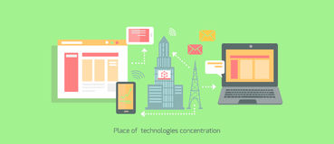 Icon Flat Place of Technologies Concentration Royalty Free Stock Image