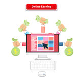 Icon Flat Style Concept Online Earning. Business money, finance internet, payment income, financial commerce with computer, profit dollar illustration Stock Images