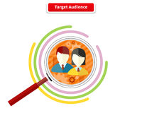 Icon Flat Style Concept Target Audience. Business marketing, infographic information, social chart, data market, development and research infograph Royalty Free Stock Photo