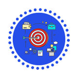 Icon Flat Style Design Goal Setting. Business strategy, target and management, idea and plan, solution and achievement, objective and motivation, growth Stock Images