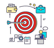Icon Flat Style Design Goal Setting. Business strategy, target and management, idea and plan, solution and achievement, objective and motivation, growth Royalty Free Stock Photo