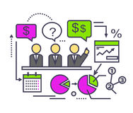 Icon Flat Style Design Performance Analysis. Icon flat design performance analysis. Business marketing, graph and diagram, data information, statistic and Royalty Free Stock Image