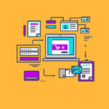 Icon Flat Style Design Secure Payment Stock Photos