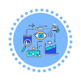 Icon Flat Style Design Vision Development. Process management, project strategy marketing, innovation and money finance, organization plan illustration Stock Image