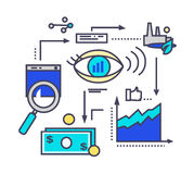 Icon Flat Style Design Vision Development. Process management, project strategy marketing, innovation and money finance, organization plan illustration. Vision Royalty Free Stock Image