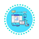 Icon Flat Style Design Working Process Royalty Free Stock Photo
