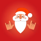 Icon in flat style. Santa Claus. Rock gesture Royalty Free Stock Images