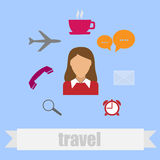 Icon in flat style travel Royalty Free Stock Image