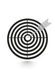 Icon flat target with dart in black, isolated Royalty Free Stock Image