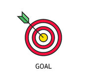 Icon flat target with dart isolated goal Stock Photos