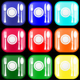 Icon of flatware on buttons. Icon of flatware on shiny buttons Royalty Free Stock Photo