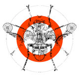Icon of fly. Sign of abstract technical drawing of fly within red circle Stock Photography