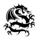 Icon of flying dragon, vector. Icon of flying dragon, black and white logo illustration, chinese art, vector Stock Photos