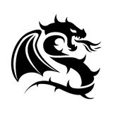 Icon of flying dragon, black and white logo, vector  Royalty Free Stock Image