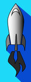 Icon of a flying rocket in the blue sky Royalty Free Stock Photo