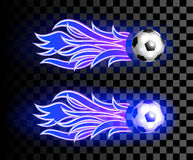 Icon of a flying soccer ball with blue fire flames on dark  tran. Sparent background. Design element. Vintage item.  Two variations Stock Images