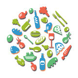 Icon Food colorful. Many vegetables in a circle stock illustration