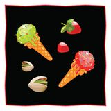 Icon of food on a white background. Pistachio and strawberry ice cream. Dessert on a black background for the menu of the restaurant and cafe. Strawberries and Royalty Free Stock Photo