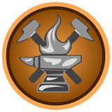 Icon forge. Icon blacksmith shop from anvils and hammers Royalty Free Stock Photo