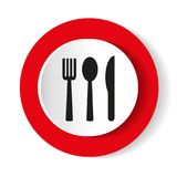 Icon fork, spoon, knife on a red background. Vector illustration. Stock Photo
