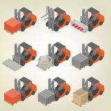 Icon forklift with cargo isometric, vector illustration. Stock Photo