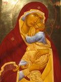 Icon.Fragment. The icon of the Virgin with the Child Jesus.I perform the work, Valeri Vdovin, Tamila Vdovina and Olga Zayferd - Family Art Workshop Royalty Free Stock Image