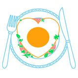 Icon of fried egg. In the form of heart on a plate and knife and fork. Icon in the linear style Royalty Free Stock Image