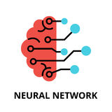 Icon of future technology - neural network. Modern flat editable vector line icon of future technology - neural network, for graphic and web design vector illustration