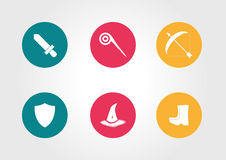 ICON Games. Icon game  sword staff archer buttons boots magic wizard shield web graphic Royalty Free Stock Photography