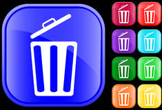 Icon of garbage can. Icon of a garbage can on shiny square buttons Royalty Free Stock Images