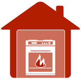 Icon with gas stove in home Royalty Free Stock Images