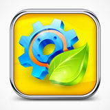 Icon with gear and leaf Royalty Free Stock Photo