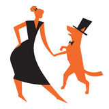 Icon with girl and dog. Vector illustration with dancing woman a Royalty Free Stock Photography