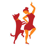 Icon with girl and dog. Vector illustration with dancing woman a Stock Photos