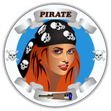 Icon girl pirates Stock Photography