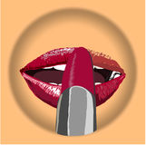 Icon glamour Red lips with pomade make up on body colore plate.  Sexy biting red lips make pomade. Vector- illustration. Stock Photos