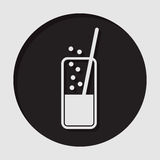 Icon - glass with carbonated drink and straw Stock Photography
