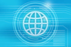 Icon globe on a blue background in center of the Royalty Free Stock Photography