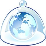 Icon of globe under bell-glass Stock Photos