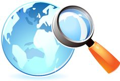 Icon of globe under lens. Blue globe under magnifying glass. Vector illustration Stock Photos