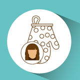icon glove kitchen mitten, female avatar graphic Stock Photo