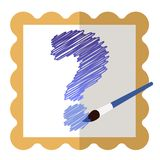 Icon with a gold frame with a blue question mark inside and a blue brush. royalty free illustration