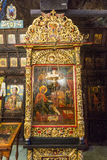 Icon in gold frame in the Troyan Monastery, Bulgaria stock photo