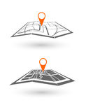 Icon GPS technology laying of a route travel, tourism navigation Royalty Free Stock Photos