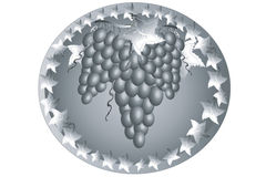 Icon with grape. Royalty Free Stock Photography