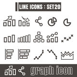 Icon graph line black Modern Style vector on white background Royalty Free Stock Photo