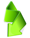 Icon with green arrow. Curled side.  Vector illustration Stock Photo
