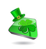 Icon with green clover and patrick's hat Stock Photos