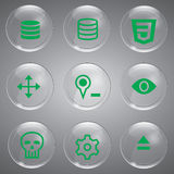 Icon Green Set. Glass icons set 9 general vector icon symbols color geen Stock Photography