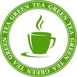 Icon with green tea cup Stock Image
